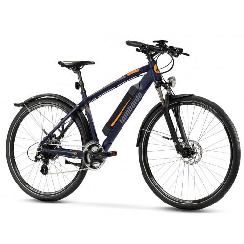 "Lombardo Valderice Fitness MTB E-Bike 29"" Night Blue/Grey - Orange Glossy"